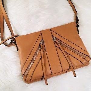 Tan Zipper Detail Crossbody Purse